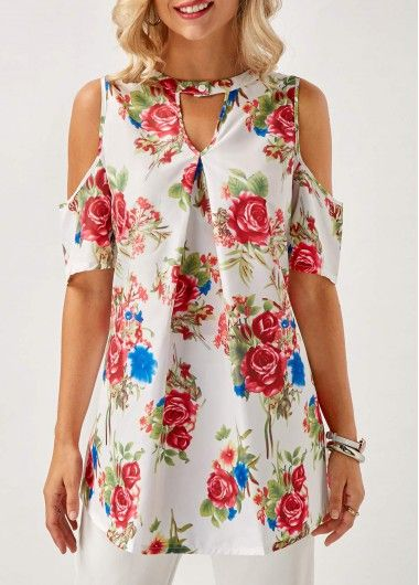 Cutout Cold Shoulder Flower Print White Blouse on sale only US$29.22 now, buy cheap Cutout Cold Shoulder Flower Print White Blouse at liligal.com