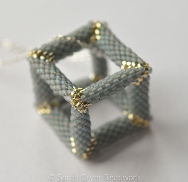 Hollow cube peyote pendant