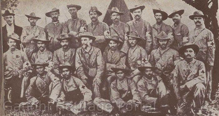 With the Indian Ambulances Corps during the Boer War, 1899.
