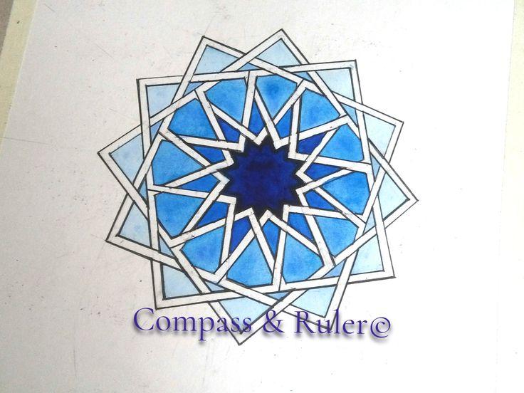 Islamic Geometry: 12-fold Stellated Rosette  #geometry #art #watercolor #paint #artforsale #geometric #islamicgeometry #artist