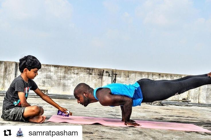 "#LoveYourSweat with @samratpasham.  Share your journey with us for a chance to win some awesome goodies. Hit the link in our bio for more info! ""When your mayurasana isn't steady ... Kung Fu Panda your way through it ... Chocolate works as a great motivator  on nom nom "" #FitNut #Yoga"