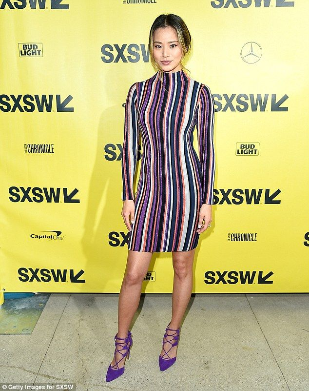 "Stun in a striped sheath dress like Jamie #DailyMail #jamiechung #sxsw #tornbyronykobo Click ""Visit"" to buy now"
