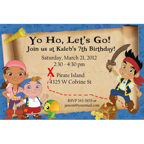 17 Best images about Jake and the Neverland Pirates Party on – Free Jake and the Neverland Pirates Birthday Invitations