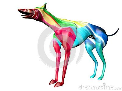 Crasy colored 3D model of greyhound