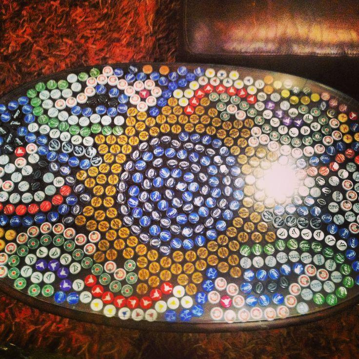 Bottle cap table top designs the image for Bottle cap designs