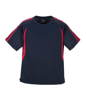 navyred - MENS BIZCOOL FLASH TEE – T3110  Price includes 1 color, 1 location screen print  2 Color imprint available for an additional charge  • BizCool 100% Breathable Polyester single jersey knit  • Snag resistant fabric  • Contrast twin stripe from shoulder to sleeve cuff  • Contrast curved panel from raglan curve to back of tee  • Side splits  • 185 GSM