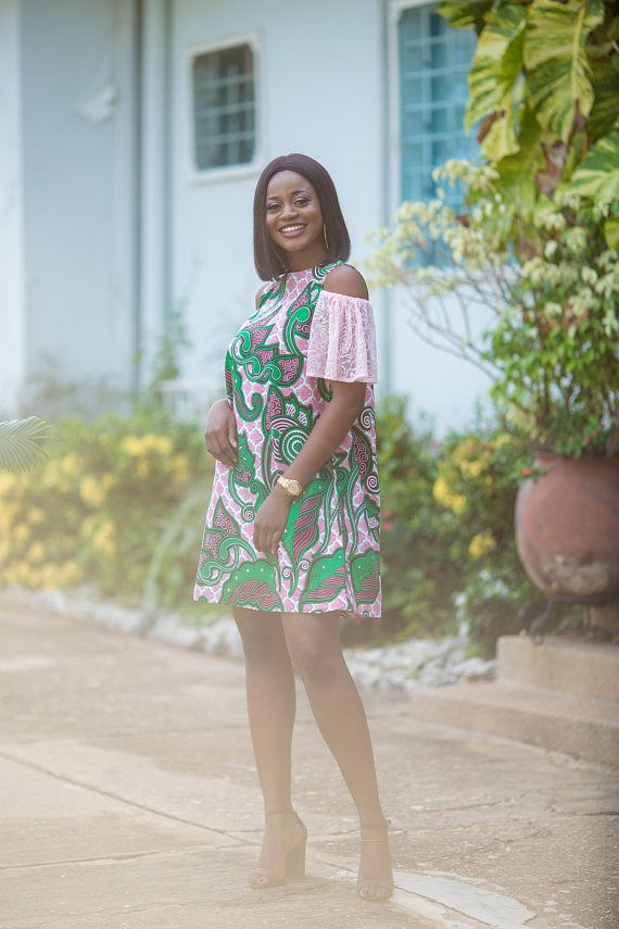 Ankara cold-shoulder dress African print with lace sleeve