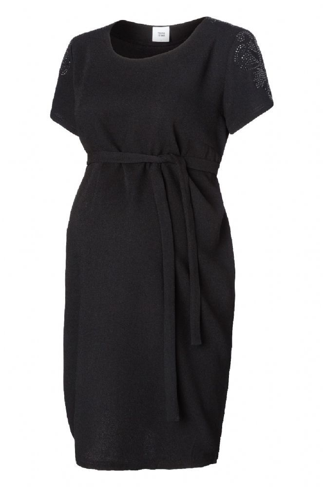 Plain black maternity dress with optional same tie belt This dress is designed by Mamalicious Maternity and is fantastic as a versatile option in