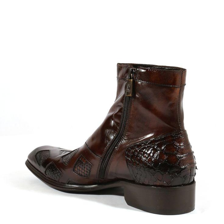 Jo Ghost Italian Mens Shoes Inglese Pitone Crust Tejus Brown Python / Lizard Boots (JG2002)