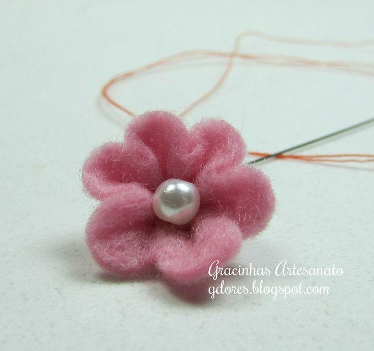 Felt flower tutorial   Gracinhas Artesanato