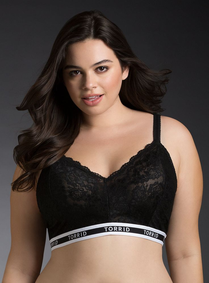 <p>Nothing comes between you and this lace bralette! Equal parts sporty and sexy, the semi-sheer black floral lace is tregrave;s alluring while the quot;TORRIDquot; trim elastic bust band will make anyone a good sport.</p> <p>nbsp;</p> <p><b>Search SKU 10523586 for matching panty</b></p> <ul> <li>No underwires</li> <li>Nylon/spandex</li> <li>Wash cold, dry flat</li> <li>Imported plus size bralette</li> </ul>
