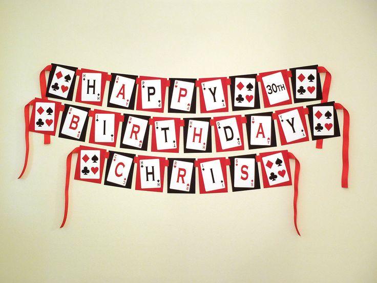 Printable DIY Red and Black Casino Night Poker Playing Card Theme Birthday Banner. $8.00, via Etsy.