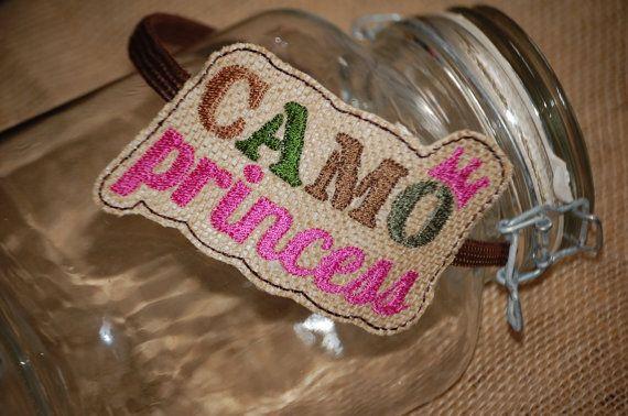 Camo Princess Embroidered Burlap Headband by CraftItUpByAmeela