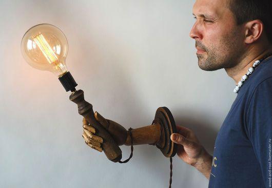 Освещение ручной работы. Ярмарка Мастеров - ручная работа. Купить Светильник Рука. Handmade. Коричневый, пальцы, лампа эдисона, викторианский