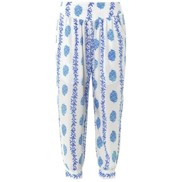 COOL CHANGE Surf floral-print trousers ($166) ❤ liked on Polyvore featuring pants, bottoms, jeans / pants / leggings, trousers, blue white, floral-print pants, floral printed pants, beach pants, loose fit pants and floral pants