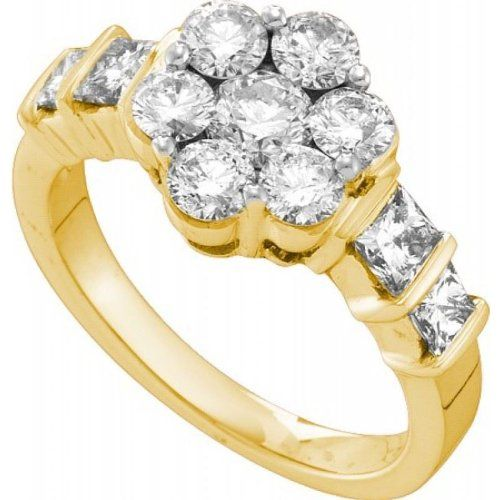 Women's White Diamond 2.06CTW 14K Yellow Gold Flower Ring GND53850-W10 | Sparkly Things Jewelry