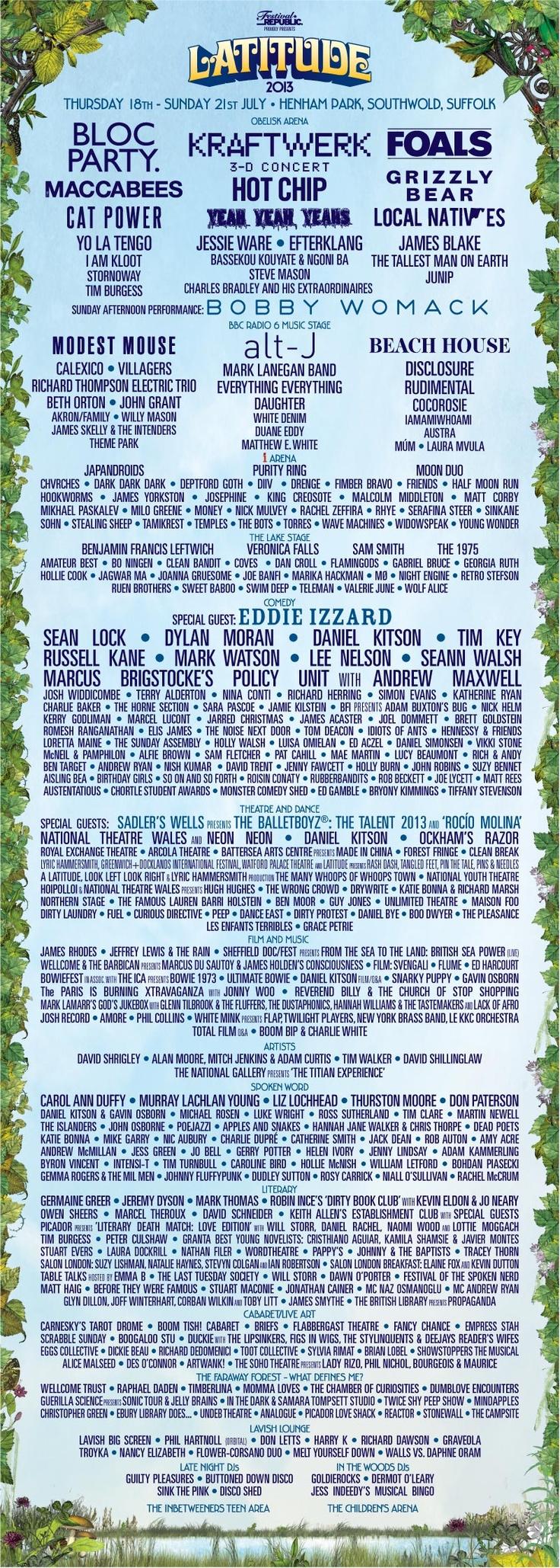 Line-up | Latitude Festival 2013