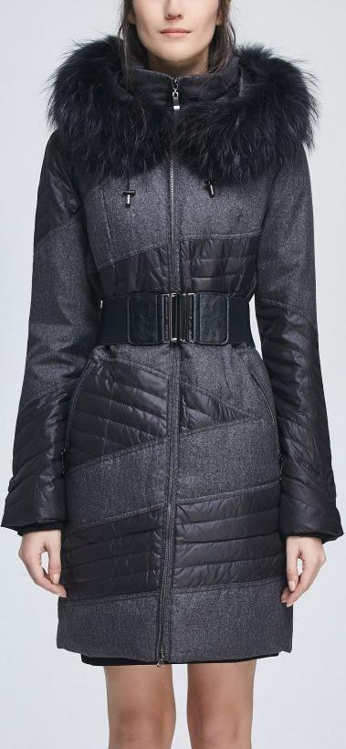 Fur-Hooded Down Coat, Dark Grey