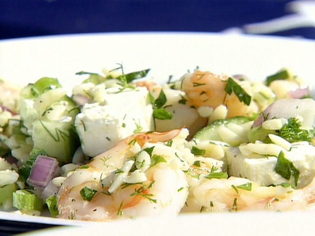 Roasted Shrimp and Orzo salad. I make this dish for party's and family gatherings and its always a huge hit. Delish