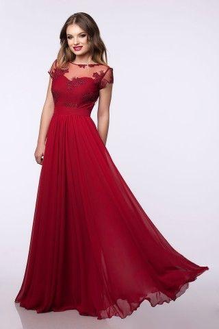 Rochie de ocazie rosie din voal cu spate gol