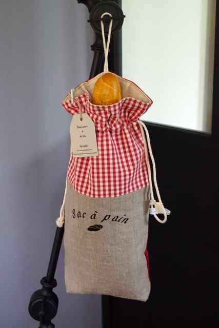 Sacs à pain Deux Coeurs et de Lin Lin création couture fait main tissu toile passion Sophie personnalisation France Lille Nord CAMEO