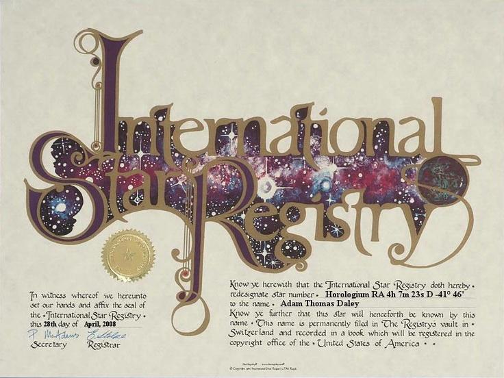 Adam Thomas Daley - Horologium - Name a Star : Buy a Star : International Star Registry : Order@ starregistry.com