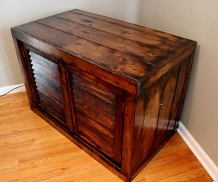 upcycled tv stand distressed with fire