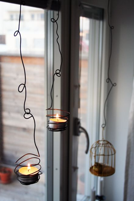 tealight lanters. spray yellow and white