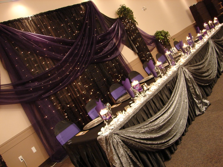 Head table setting.: Outrageous Decorations, Wedding Decoration, Elegant Decorations, Table Linens, Tables Linens, Head Tables, Centerpieces