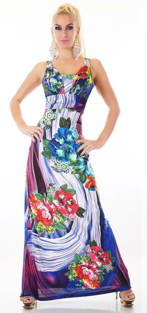 Dlouhé dámské zářivé šaty s květy