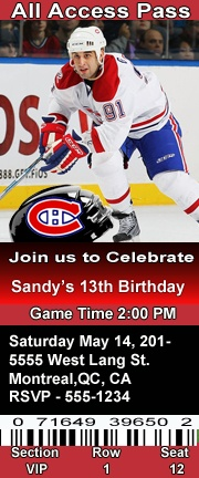 Montreal Canadiens Hockey Theme Birthday Party Invitations Ticket Style Personalized
