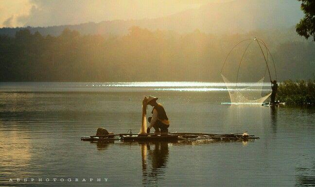 Fisherman in Gembong Lake,pati,central java,INDONESIA