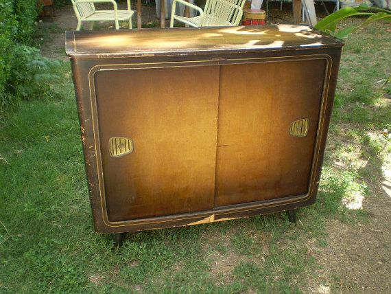 Vintage German Fonovox Stereo Record Player Bar Cabinet