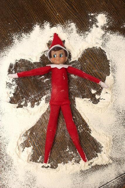 Snow angel with Elf on the Shelf