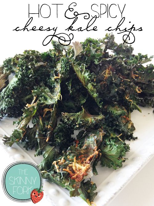 Hot & Spicy Cheesy Kale Chips - The perfect snack food replacement for potato chips! Well under 300 calories for the WHOLE bunch! Spice. Check. Cheese. Check!