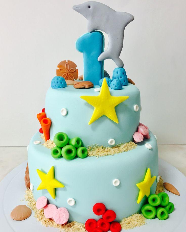 """Bolo Mar 1"""" aniversário  Golfinho Fundo mar"""