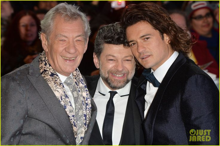 Orlando Bloom (Legolas), Andy Serkins (Gollum) & Ian McKellen (Gandalf) Go Glam for Final 'Hobbit' London Premiere (1-12-14) Monday.