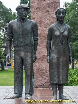 Red prisoners on the site of the largest red prisoners camp of 1918. The monument, designed by the sculptor Erkki Kannosto, is dedicated to all red prisoners, Lahti Finland - Punavankien muistomerkki