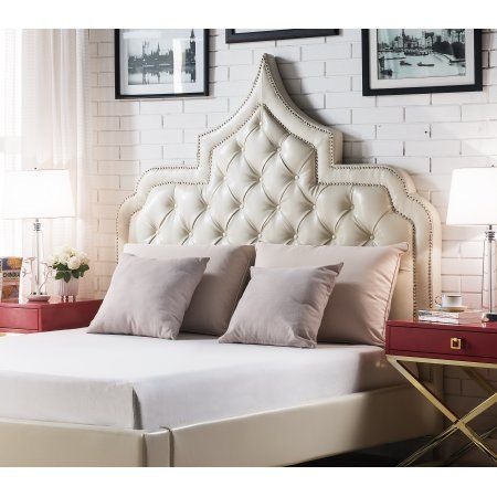 Chic Home Fonda PU Leather Modern Contemporary Button Tufted with Silver Nail heads Trim Queen Size Headboard, Cream White, Beige