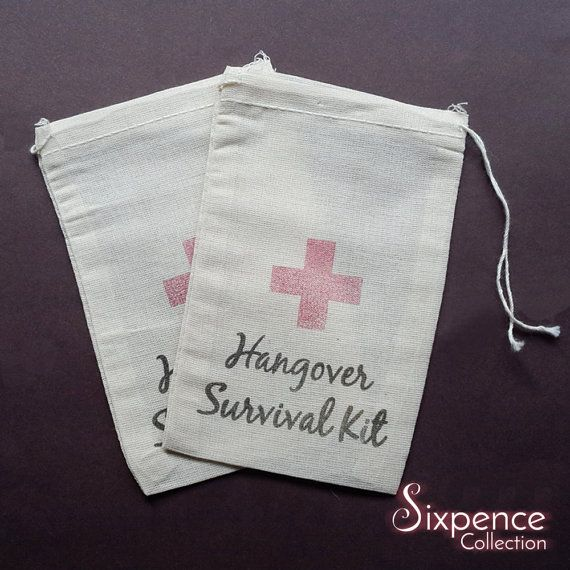10 x Hangover Survival Kit Muslin Favour Bags