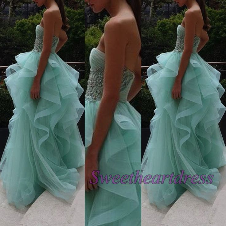 Pretty dress for prom, turquoise organza ball fown, 2016 handmade strapless long evening dress for teens sweetheartdress.s... #coniefox #2016prom