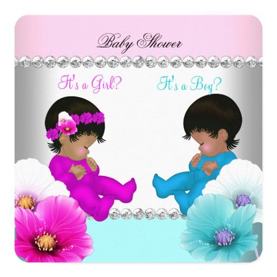 Gender Reveal Baby Shower Pink Teal Blue Flowers Card