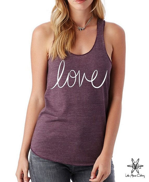 HOU van cursieve meisjes Heathered Tank Top Shirt zeefdruk alternatief kleding