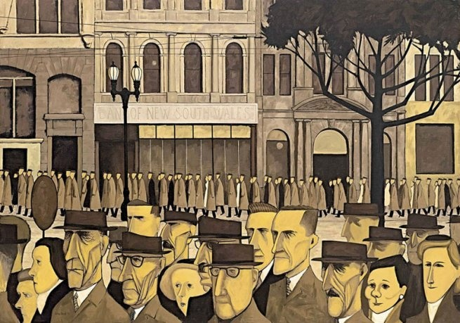 Collins St., 5 pm is a 1955 painting by Australian artist John Brack. The painting depicts office workers walking along busy Collins Street in Melbourne after finishing work for the day. It is considered a companion piece to Brack's earlier work, The Bar.[1] The painting is part of the National Gallery of Victoria's Australian art collection and exhibited in the Ian Potter Centre in Federation Square in Melbourne.[2] }