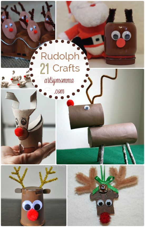 21 Rudolph Crafts for Kids {and moms too!} Rudolph handprint art, fun food ideas, recycled crafts, ornaments, & more!