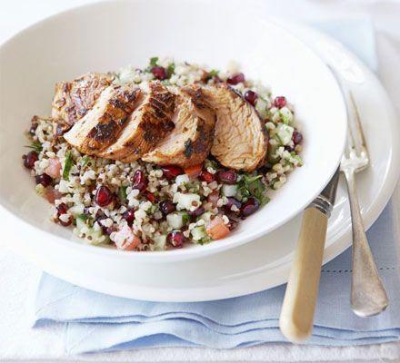 Spiced turkey with bulghar & pomegranate salad recipe - Recipes - BBC Good Food
