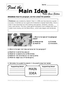 Finding the Main Idea Video Game Edition Worksheet | Reading ...