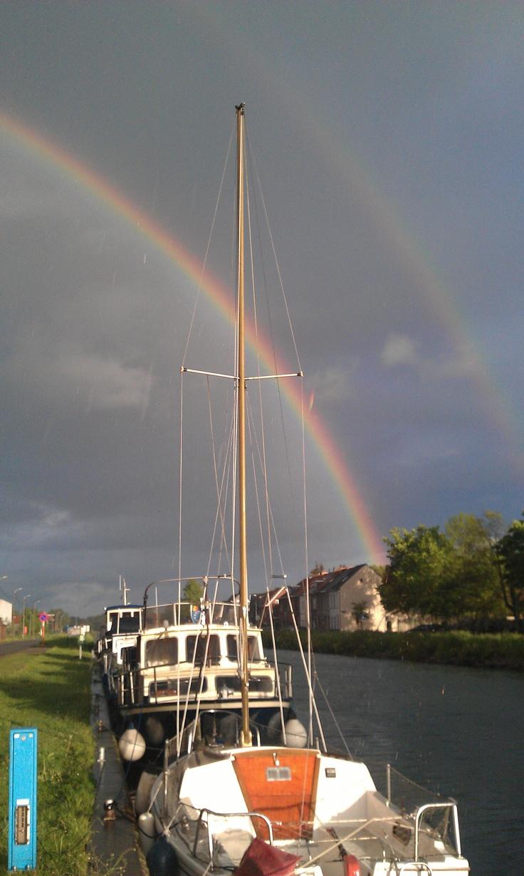 Double rainbow over harbour