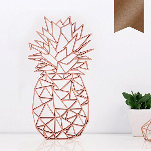 """Kleinlaut 3D-Origamis aus Holz - Wähle ein Motiv & Farbe - """"Ananas"""" - 10,6 x 20 cm (M) - Kupfer"""