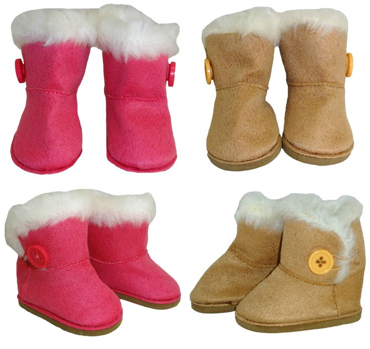 These cool Ugg boots will keep your doll's feet super warm in winter and look great with tights, jeans, a skirt or just about anything.  They have a button feature on the side and simply slip on.  Available in Tan or Pink.